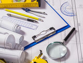 Tools on blueprint — Stock Photo