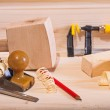 Woodworking plane with other tools — Stock Photo #41844591