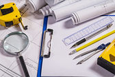 Set of architect tools on  blueprints — Stock Photo