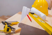 View on set of working tools on steps — Stock Photo