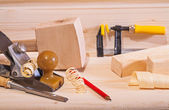 Woodworking plane with other tools — Stock Photo