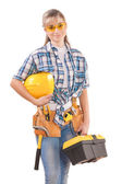 Beautiful female with tools — Stock Photo