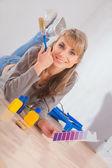 Woman with  paintbrush — Stockfoto