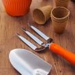 Garden hand tools and pots — Stock Photo #50204489