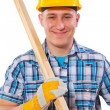 Young worker holding wooden planks — Stock Photo #50204699
