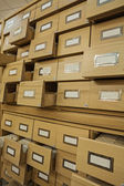Library wooden card catalog — Stock Photo