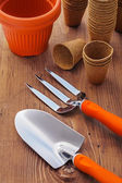 Garden hand tools and pots — ストック写真
