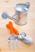 Outils de jardinage et arrosoir — Photo