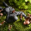 Stock Photo: Ants ask mushrooming license of toy soldier, ant tales