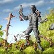 Stock Photo: Ants capture terrorist - toy soldier, ant tales