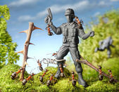蚂蚁捕获恐怖分子-玩具士兵、 蚂蚁的故事 — 图库照片