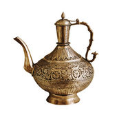 Vintage Indian teapot on a white background — Stock Photo