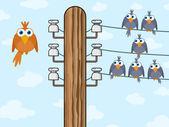 Sitting birds symbolize wireless technology — Stock Vector