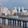 Ukraine, Kiev. Dnieper River and the bridge Paton — Foto Stock