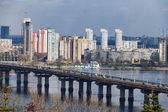 Ukraine, Kiev. Dnieper River and the bridge Paton — Stock Photo