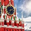 Spasskaya tower with clock. Russia, Red square, Moscow — Stock Photo