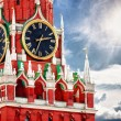 Spasskaya tower with clock. Russia, Red square, Moscow - Stock Photo