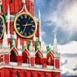 spasskaya tower met klok. Rusland, red square, Moskou — Stockfoto