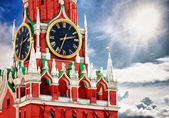 Spasskaya tower with clock. Russia, Red square, Moscow — Stok fotoğraf