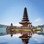 Collage with reflection of Pura Ulun Danu Bratan — Stock Photo