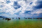 Thai traditional wooden boats in the lagoon — Stock Photo