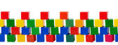 Old plastic color blocks - toys isolated on white background — Foto Stock