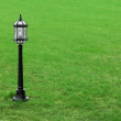 Metal black street lamp on green grass — Stock Photo
