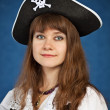 Young woman in pirate hat — Stock Photo