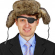 Russian pirate in business - isolated on white background - Stock Photo