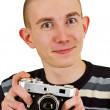 Stock Photo: Satisfied young mwith vintage photo camera