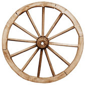 Big vintage rustic wagon wheel — Stock Photo