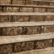 Old vintage steps near a temple - Stock Photo