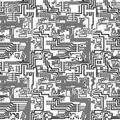 Circuit board vector seamless technological pattern — Stock Vector
