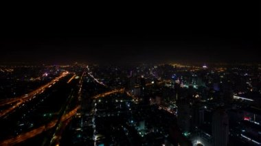 City at night - view from the top. Bangkok, Thailand — Stock Video