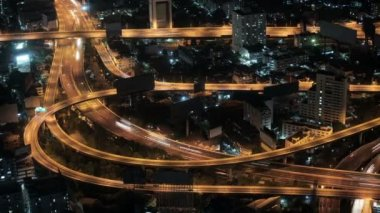 1920x1080 video timelapse - Road interchange in night city. — Stock Video