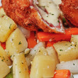 Stock Photo: Chicken Cordon Bleu with boiled potatoes