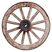 Old wooden wagon wheel on white background — Photo