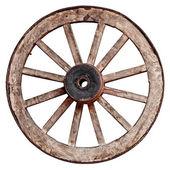 Alte hölzerne die wagon wheel auf weißem hintergrund — Stockfoto