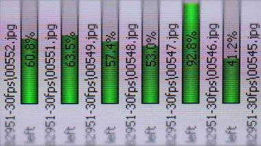 Video - Infographics on the LCD screen. Green progress bars — Stock Video