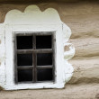 Window of ancient Ukrainian hut. Clay covered wall — Stock Photo