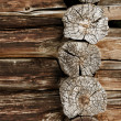 Ancient wooden wall - logs close up - Stock Photo