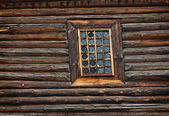 Window old wooden church built of — Stock Photo