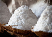 Craft salt production - salt heaps close-up — Stock Photo