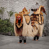 Costume traditionnel pour le théâtre - barong. indonésie, bali — Photo