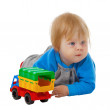 Funny kid with a toy car — Stock Photo