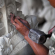 Master at work - stone carving Indonesia, Bali. — Stock Photo