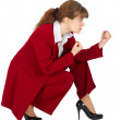 Business woman in combat readiness — Stock Photo #2652482