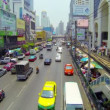 BANGKOK - APR 12: Cars and bus drive in flow of megalopolis daily traffic on Apr 12, 2013 in Bangkok, Thailand. — Stock Video #26633633
