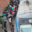 BENTOTA, SRI LANKA - May 02: Passengers board the train on the station on May 02, 2013 in Bentota, Sri Lanka. Sri Lanka Railways a linking Colombo and many population centres and tourist destinations — Stock Video