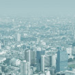 City skyline through the thick smog — Stock Photo